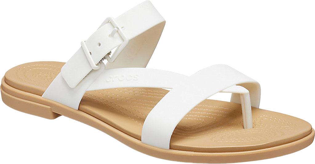 Women's Crocs Tulum Toe Post Sandal, Oyster/Tan, large, image 1