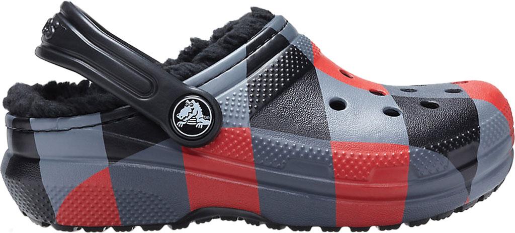 Infant Crocs Classic Lined Plaid Clog Kids, Red Plaid/Black, large, image 2