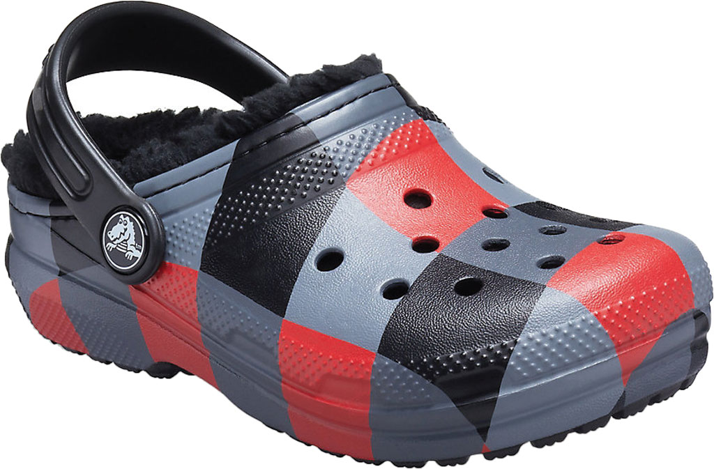 Children's Crocs Classic Lined Plaid Clog Juniors, Red Plaid/Black, large, image 1