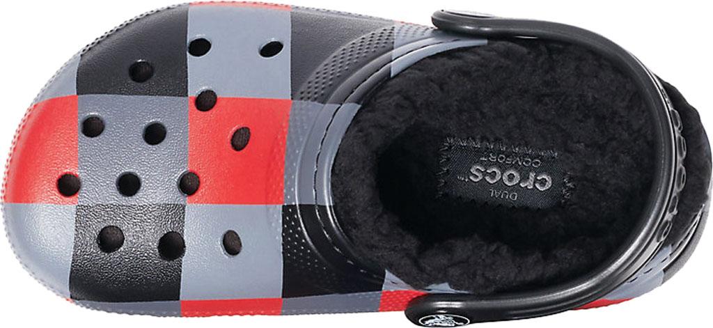 Children's Crocs Classic Lined Plaid Clog Juniors, Red Plaid/Black, large, image 4