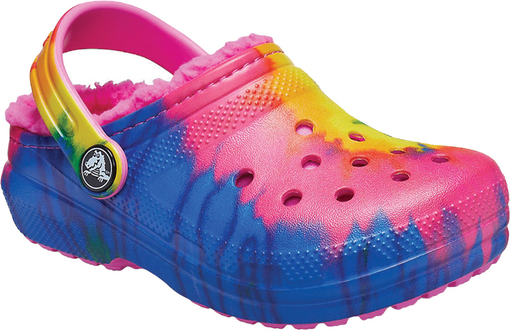 Children's Crocs Classic Lined Tie Dye Graphic Clog Juniors, Electric Pink/Multi, large, image 1