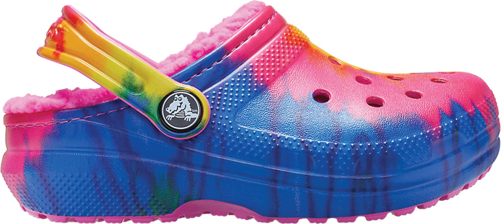 Children's Crocs Classic Lined Tie Dye Graphic Clog Juniors, Electric Pink/Multi, large, image 2