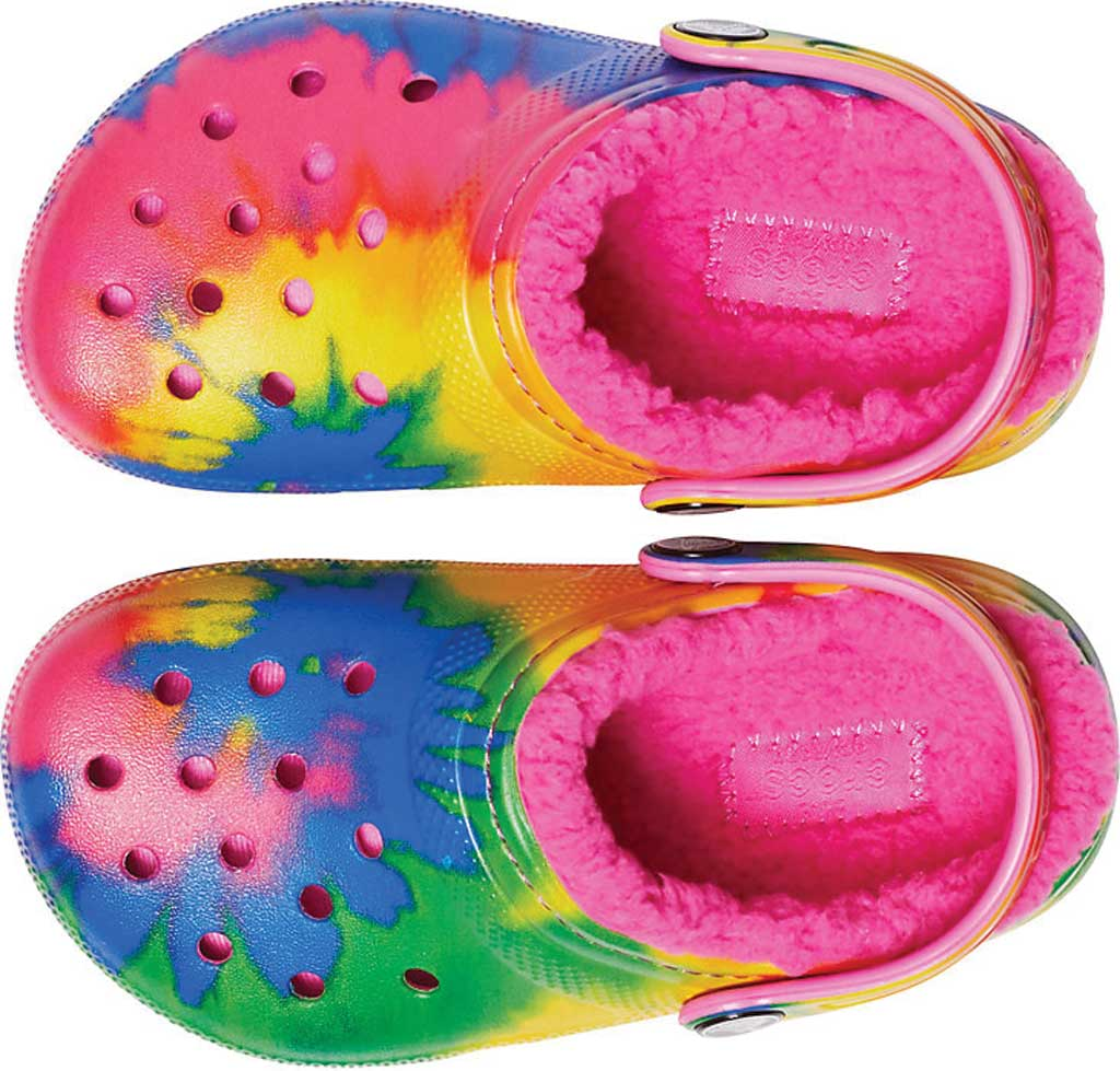 Children's Crocs Classic Lined Tie Dye Graphic Clog Juniors, Electric Pink/Multi, large, image 4