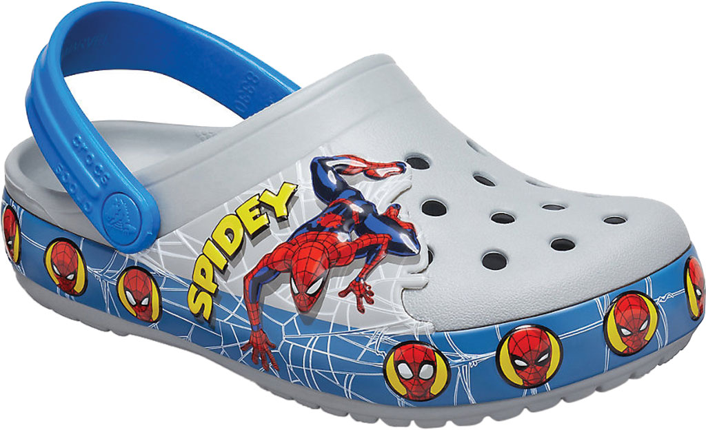 Boys' Crocs Fun Lab Spider Man Light Up Clog Juniors, Light Grey, large, image 1