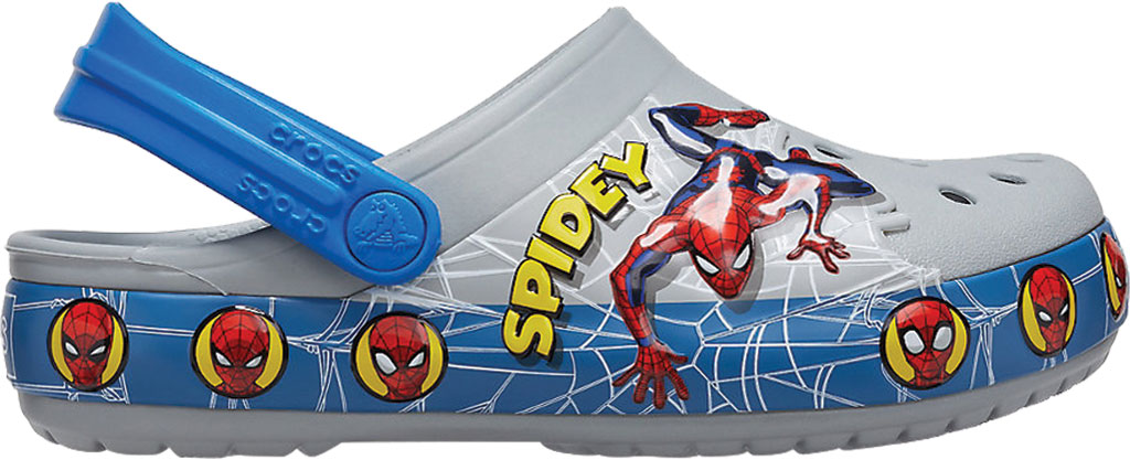 Boys' Crocs Fun Lab Spider Man Light Up Clog Juniors, Light Grey, large, image 2