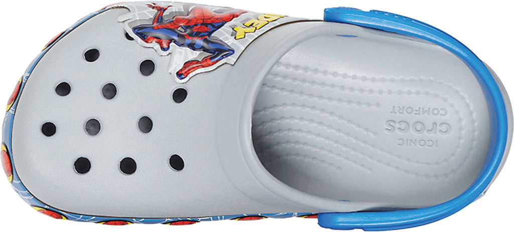 Boys' Crocs Fun Lab Spider Man Light Up Clog Juniors, Light Grey, large, image 4