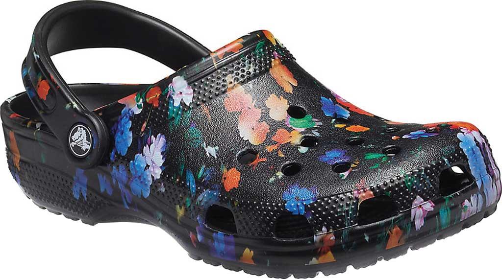 Crocs Classic Printed Floral Clog, Black/Multi, large, image 1