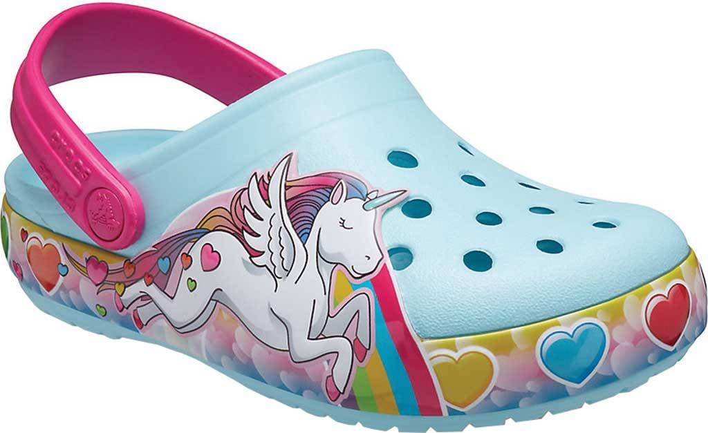 Infant Crocs Fun Lab Unicorn Lights Clog Kids, Ice Blue, large, image 1