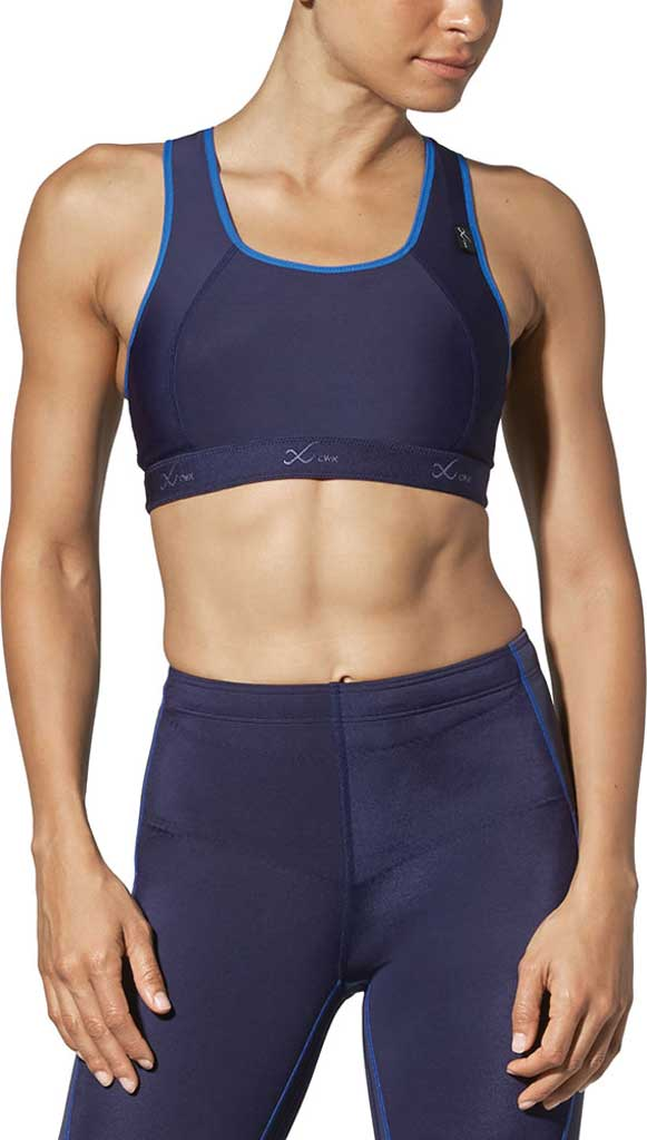 Women's CW-X Racer Back Xtra Support III Sports Bra, Navy/Blue, large, image 1