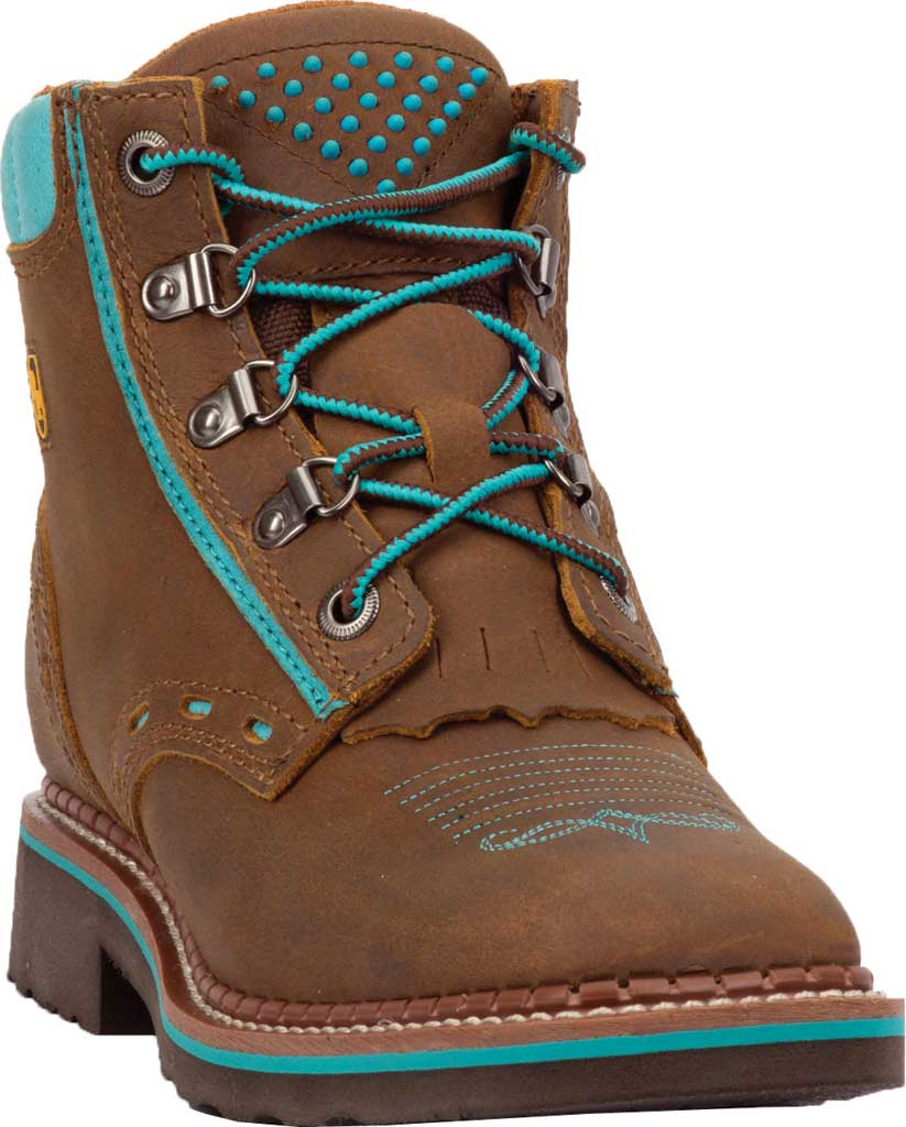 Women's Dan Post Boots Janesville Ankle Boot DP59448, Tan/Turquoise Leather, large, image 1