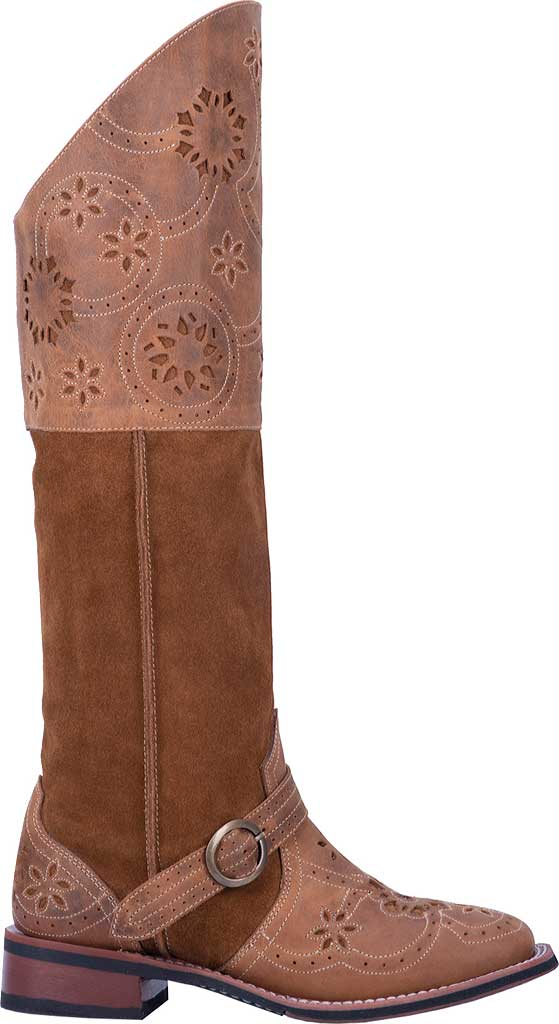 Women's Laredo Caught You Lookin' Riding Boot 5684, Tan Leather/Suede, large, image 2