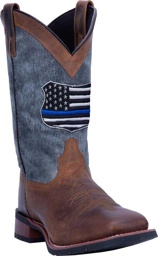 Men's Laredo We Back The Blue Cowboy Boot 7878, Tan/Blue Leather, large, image 1