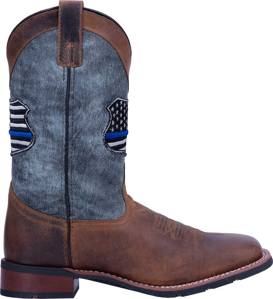 Men's Laredo We Back The Blue Cowboy Boot 7878, Tan/Blue Leather, large, image 2