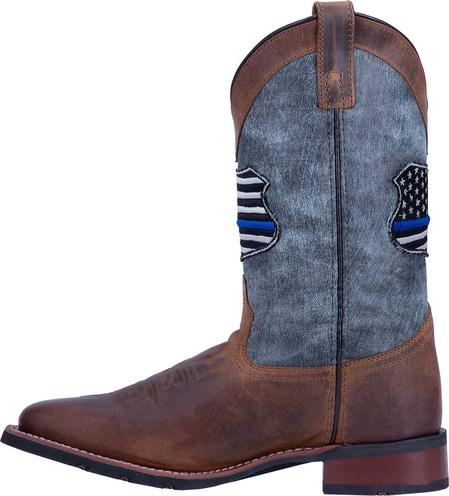 Men's Laredo We Back The Blue Cowboy Boot 7878, Tan/Blue Leather, large, image 3