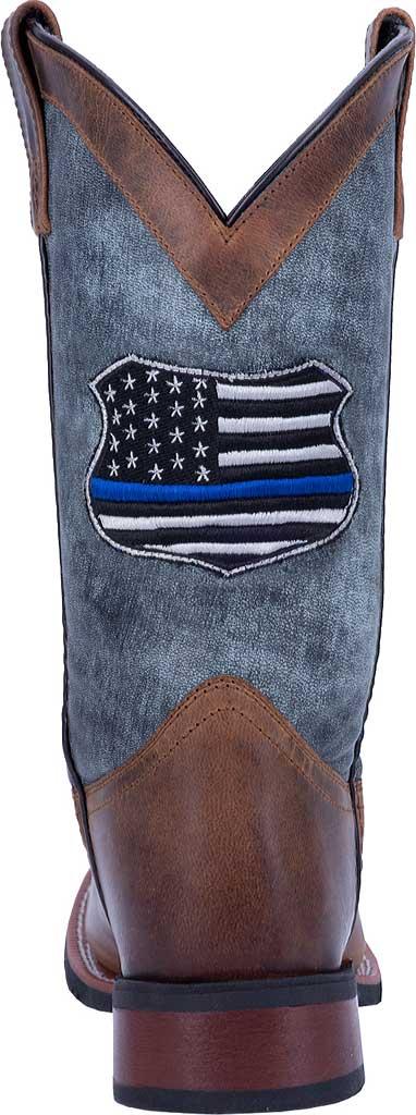 Men's Laredo We Back The Blue Cowboy Boot 7878, Tan/Blue Leather, large, image 4