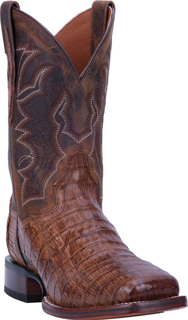 Men's Dan Post Boots Kingsly Cowboy Boot DP4807, Bay Apache/Chocolate Genuine Caiman Skin, large, image 1