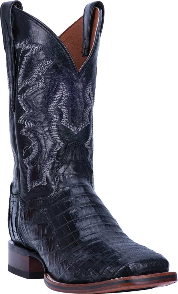 Men's Dan Post Boots Kingsly Cowboy Boot DP4805, Black Genuine Caiman Skin, large, image 1