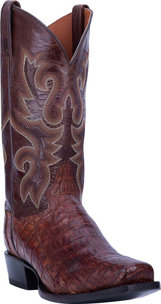 Men's Dan Post Boots Bayou Cowboy Boot DP3074, Brass Genuine Caiman Skin, large, image 1