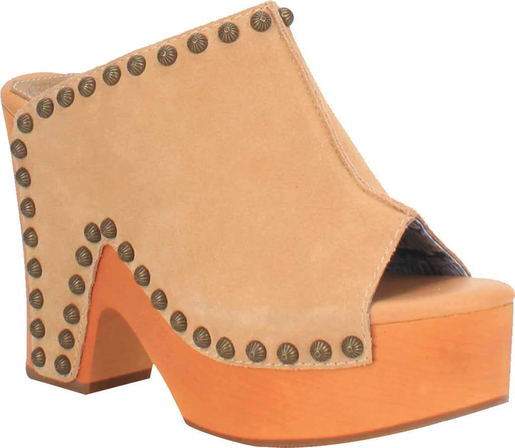 Women's Dingo Peace N' Love DI 153 Heeled Slide, Natural Suede, large, image 1