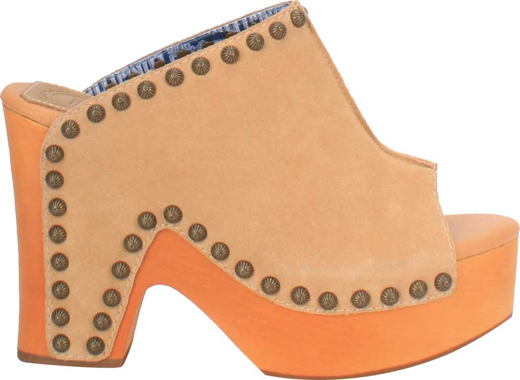 Women's Dingo Peace N' Love DI 153 Heeled Slide, Natural Suede, large, image 2