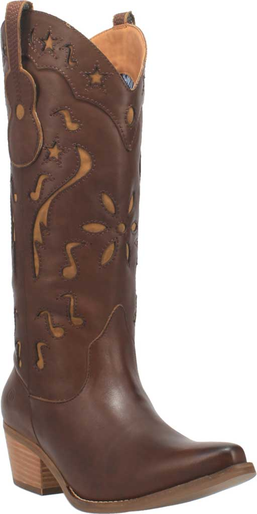 Women's Dingo Music City DI 263 Tall Western Boot, Brown Leather, large, image 1