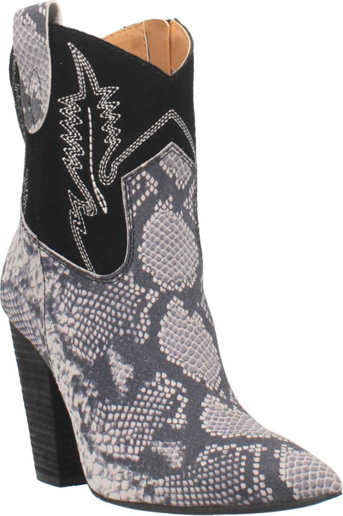 Women's Dingo Calico DI 579 Heeled Western Bootie, Black Snake Print Suede, large, image 1