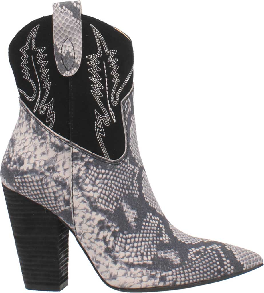 Women's Dingo Calico DI 579 Heeled Western Bootie, Black Snake Print Suede, large, image 2
