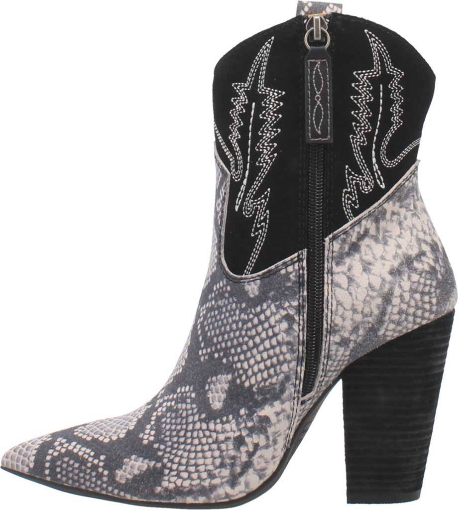 Women's Dingo Calico DI 579 Heeled Western Bootie, Black Snake Print Suede, large, image 3