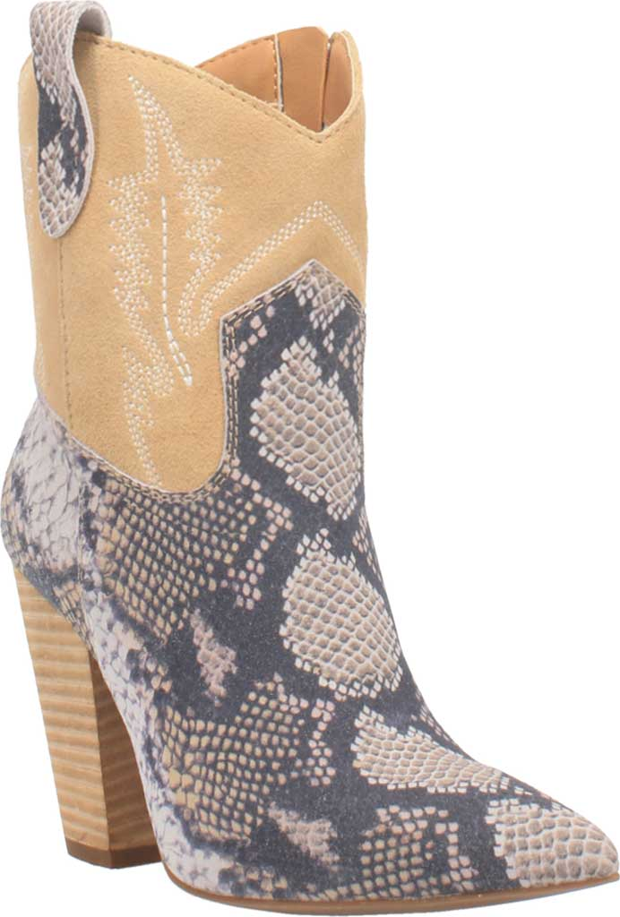 Women's Dingo Calico DI 579 Heeled Western Bootie, Blue Snake Print Suede, large, image 1
