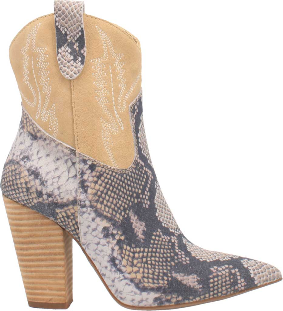 Women's Dingo Calico DI 579 Heeled Western Bootie, Blue Snake Print Suede, large, image 2