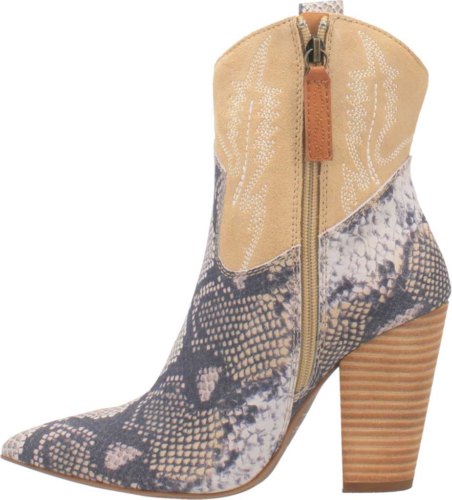 Women's Dingo Calico DI 579 Heeled Western Bootie, Blue Snake Print Suede, large, image 3