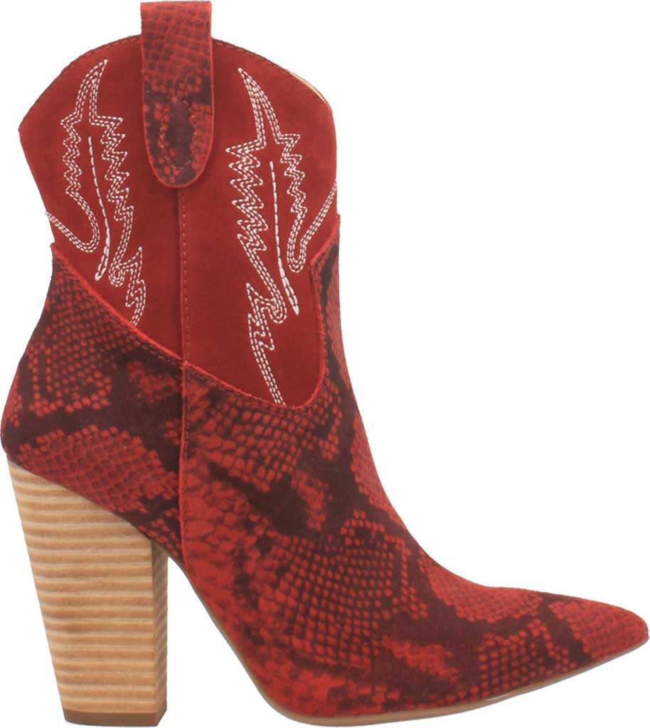 Women's Dingo Calico DI 579 Heeled Western Bootie, Red Snake Print Suede, large, image 2