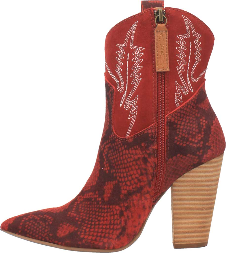 Women's Dingo Calico DI 579 Heeled Western Bootie, Red Snake Print Suede, large, image 3