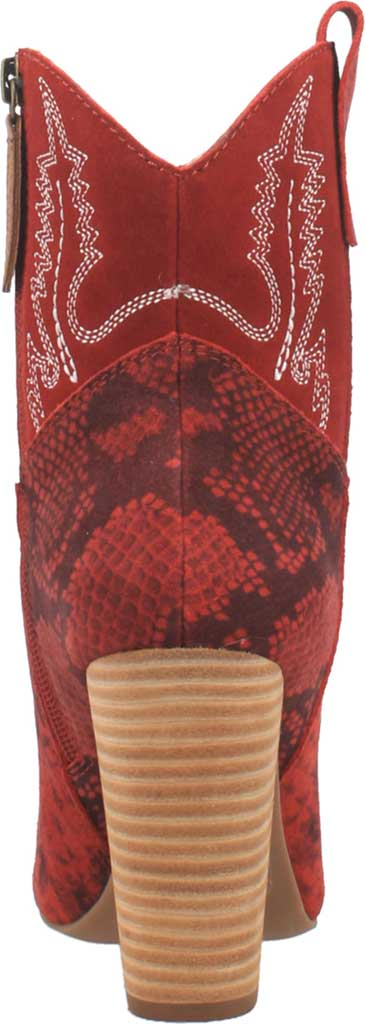 Women's Dingo Calico DI 579 Heeled Western Bootie, Red Snake Print Suede, large, image 4