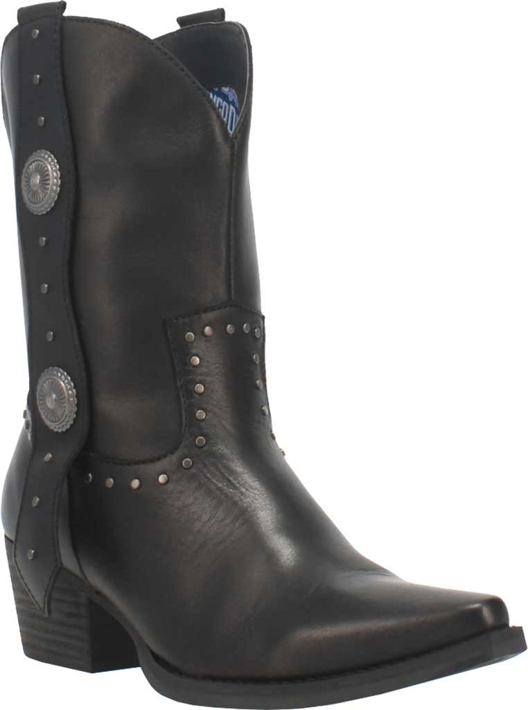 Women's Dingo True West Cowgirl Boot, Black Leather, large, image 1