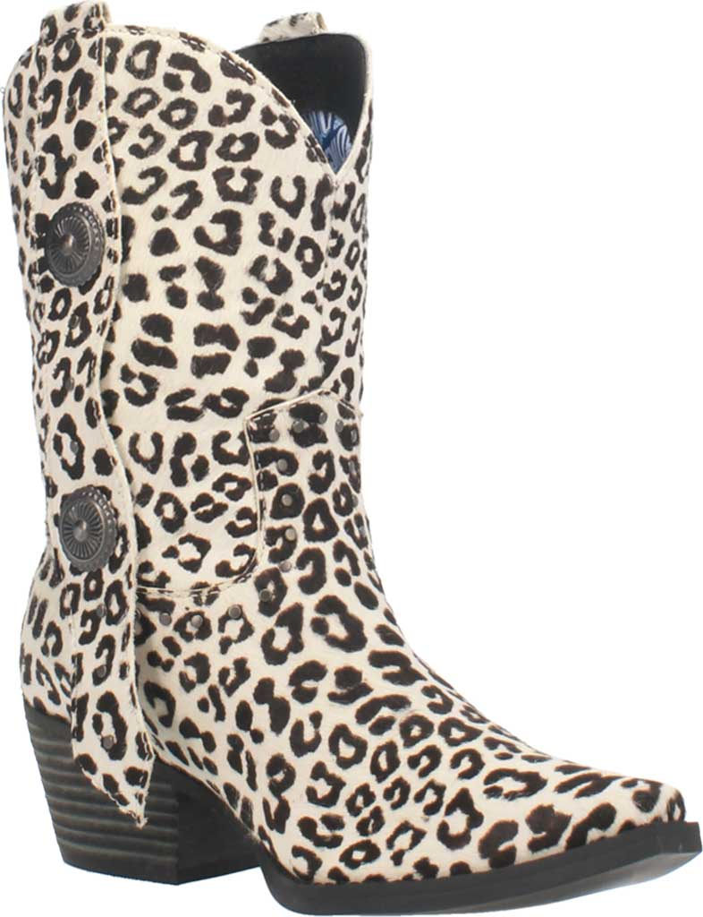 Women's Dingo True West Cowgirl Boot, Snow Leopard Leather, large, image 1