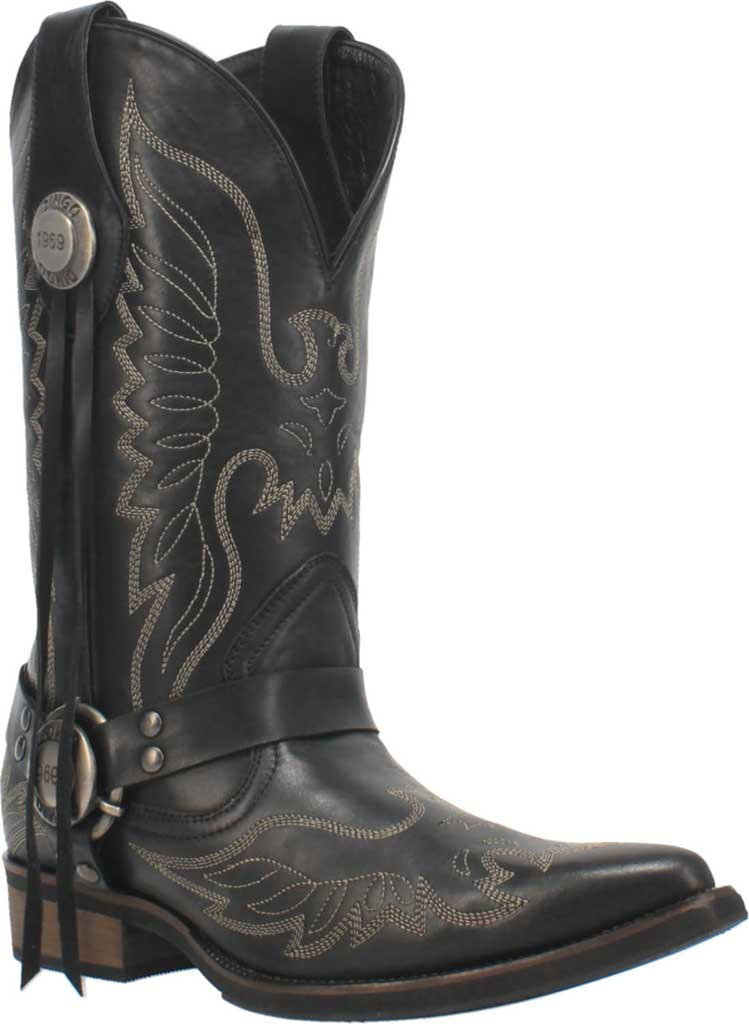 Men's Dingo Screamin' Eagle Cowboy Boot, Black Leather, large, image 1