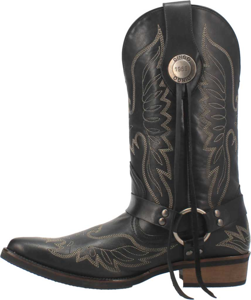 Men's Dingo Screamin' Eagle Cowboy Boot, Black Leather, large, image 3