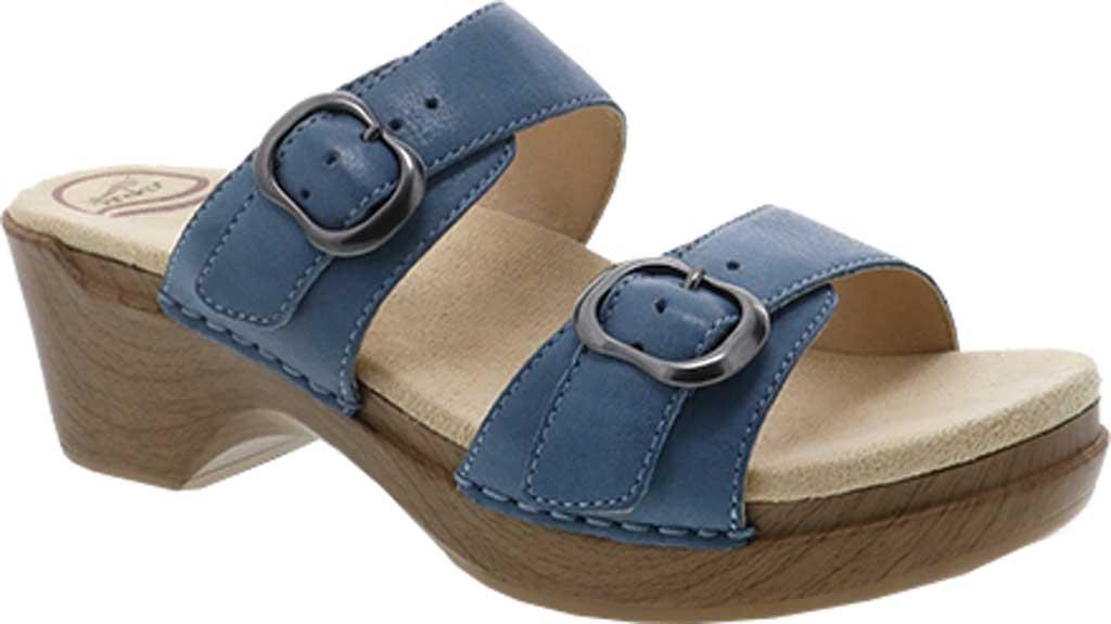 Women's Dansko Sophie Sandal, Blue Burnished Milled Leather, large, image 1