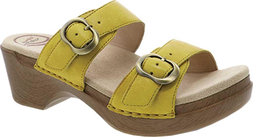 Women's Dansko Sophie Sandal, Yellow Burnished Milled Leather, large, image 1