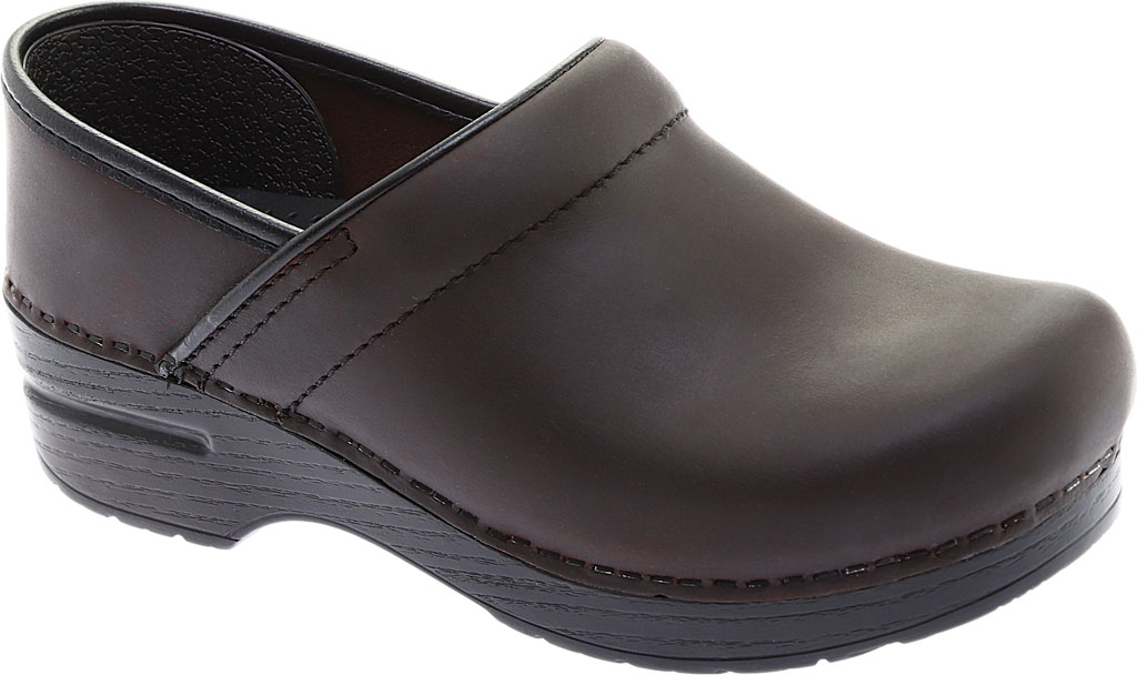Women's Dansko Professional Clog, Antique Brown Oiled/Black, large, image 1