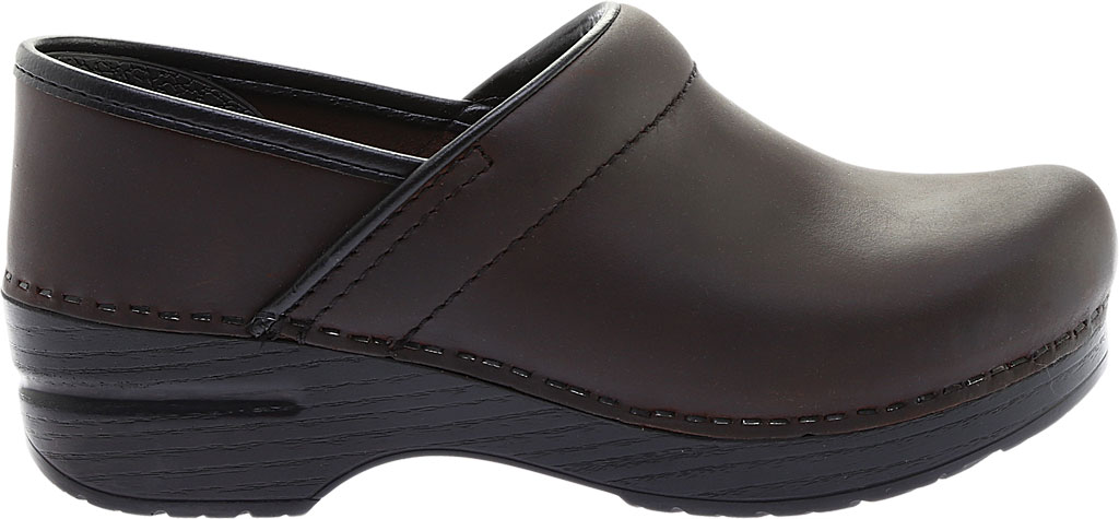 Women's Dansko Professional Clog, Antique Brown Oiled/Black, large, image 2
