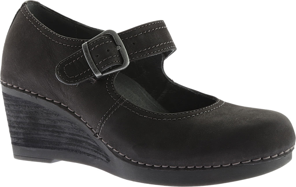 Women's Dansko Sandra Mary Jane Wedge, Black Nubuck, large, image 1