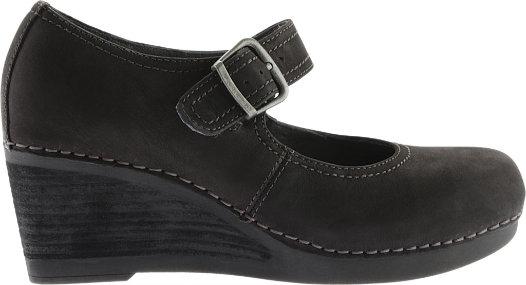 Women's Dansko Sandra Mary Jane Wedge, Black Nubuck, large, image 2