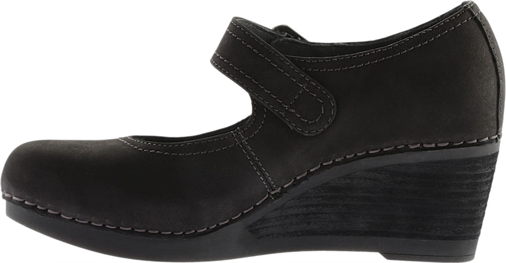 Women's Dansko Sandra Mary Jane Wedge, Black Nubuck, large, image 3