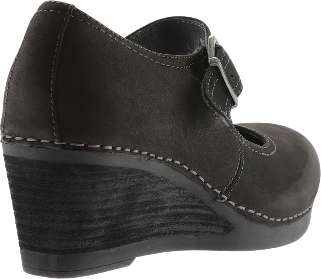 Women's Dansko Sandra Mary Jane Wedge, Black Nubuck, large, image 4