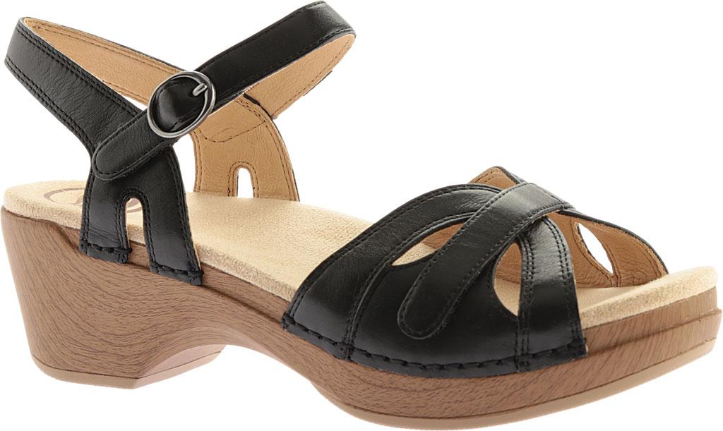 Women's Dansko Season Quarter Strap Sandal, Black Full Grain Leather, large, image 1
