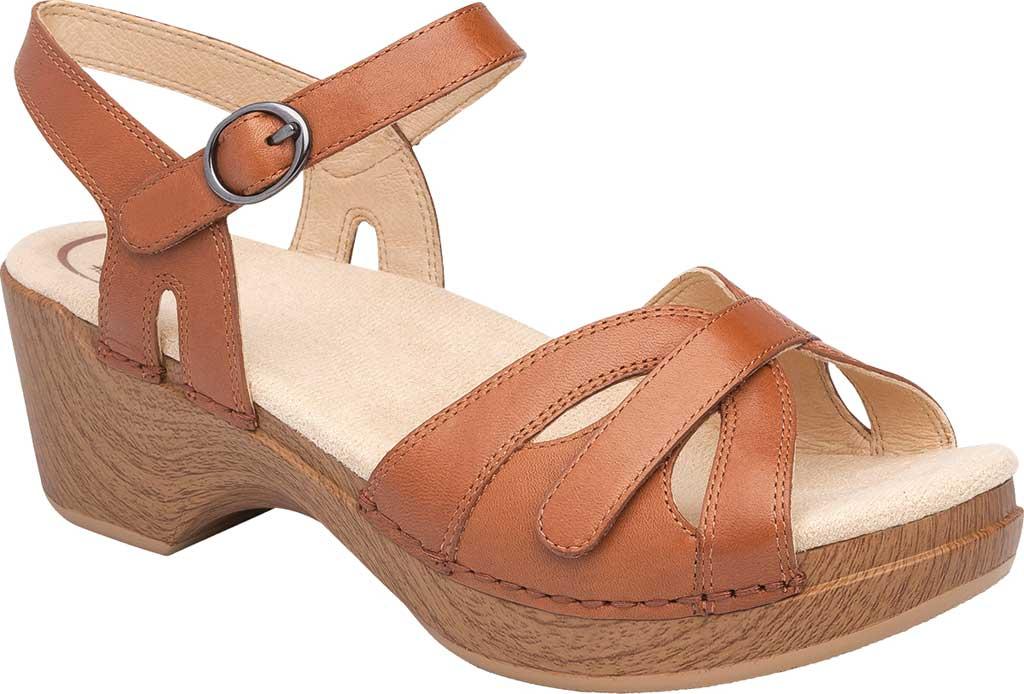 Women's Dansko Season Quarter Strap Sandal, Camel Full Grain Leather, large, image 1