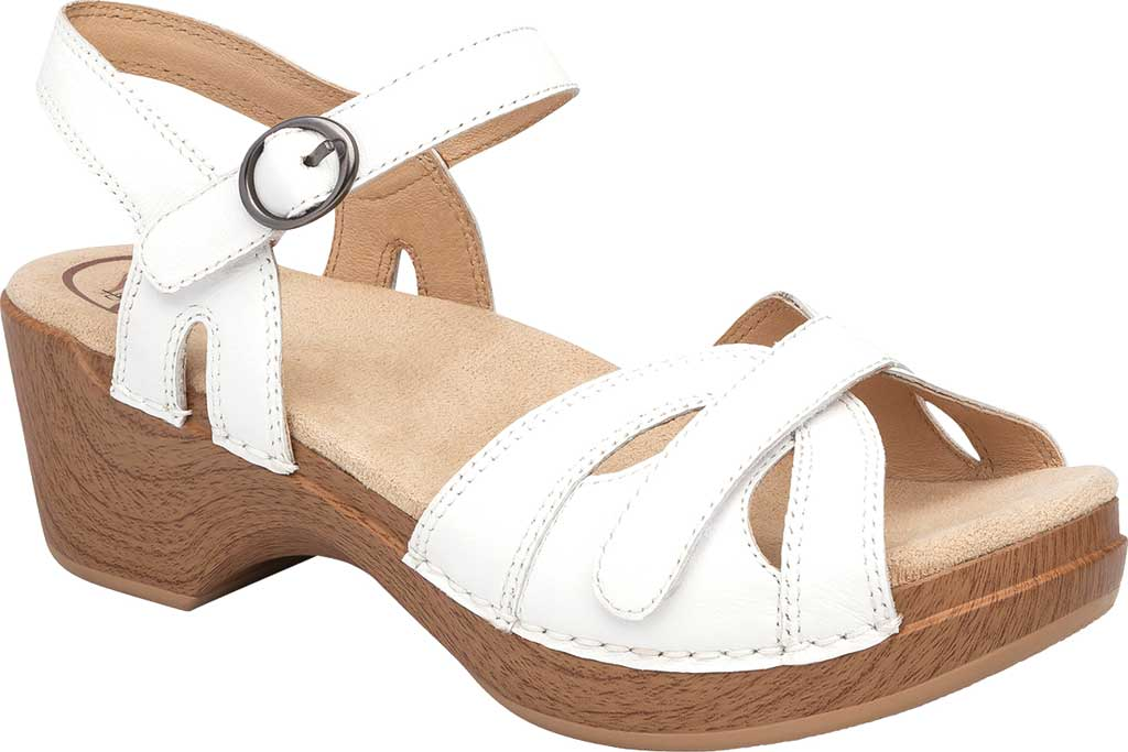 Women's Dansko Season Quarter Strap Sandal, White Full Grain Leather, large, image 1