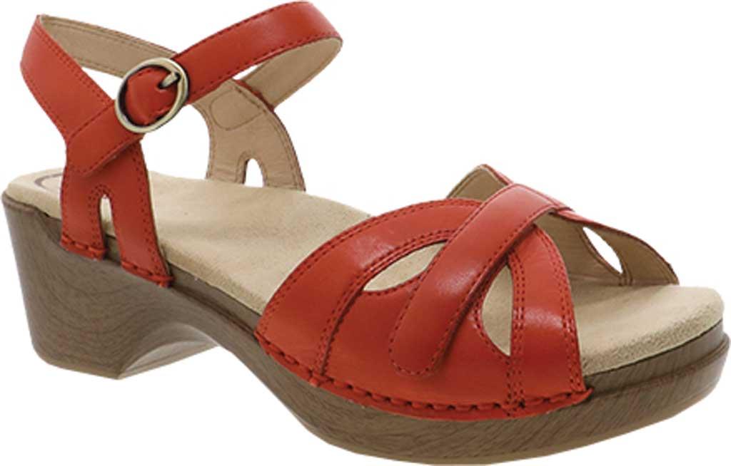 Women's Dansko Season Quarter Strap Sandal, Orange Burnished Calfskin, large, image 1